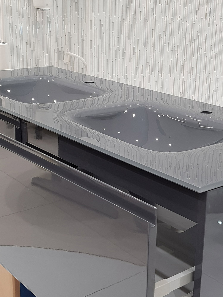 Integrated Glass Top Vanity Unit Glossy Grey