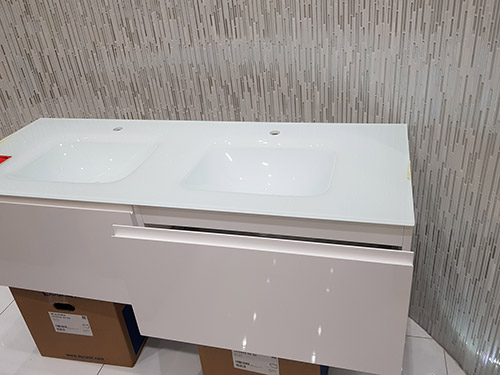 Save £1,898 on this Glass Top Vanity Unit, Glossy Sable - was £2,798.00 NOW £900.00 + VAT