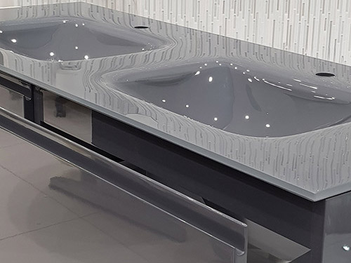 Save £1,898 on this Glass Top Vanity Unit, Glossy Grey - was £2,798.00 NOW £900.00 + VAT