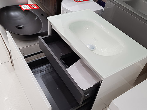 Novello 700 Integrated Glass Vanity Unit, Glossy White  - price £840 + VAT