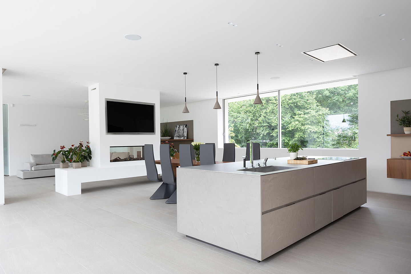 Cesar Cement Effect Kitchen - open plan kitchen-dinner and living area