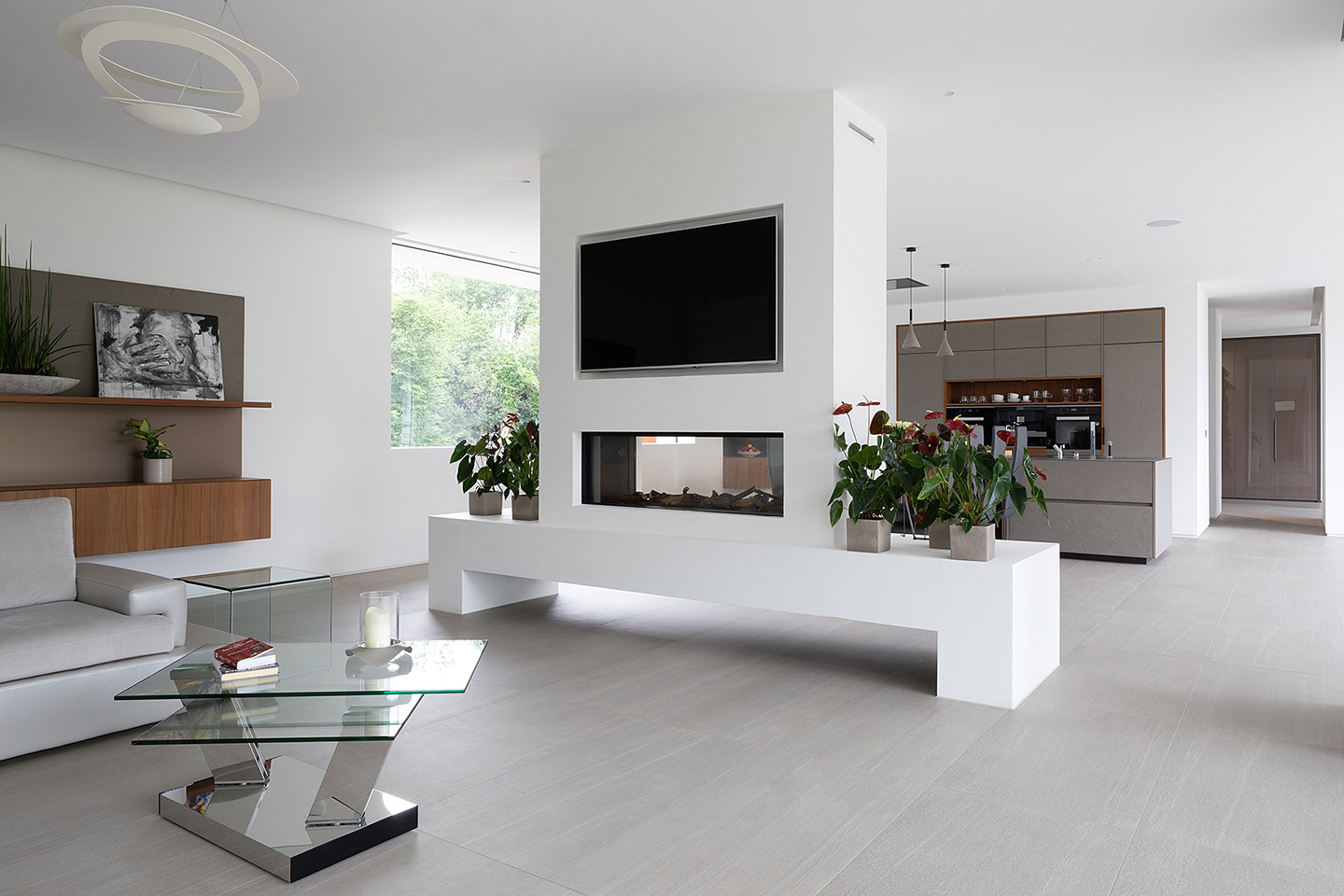 Cesar Cement Effect Kitchen - open plan living area