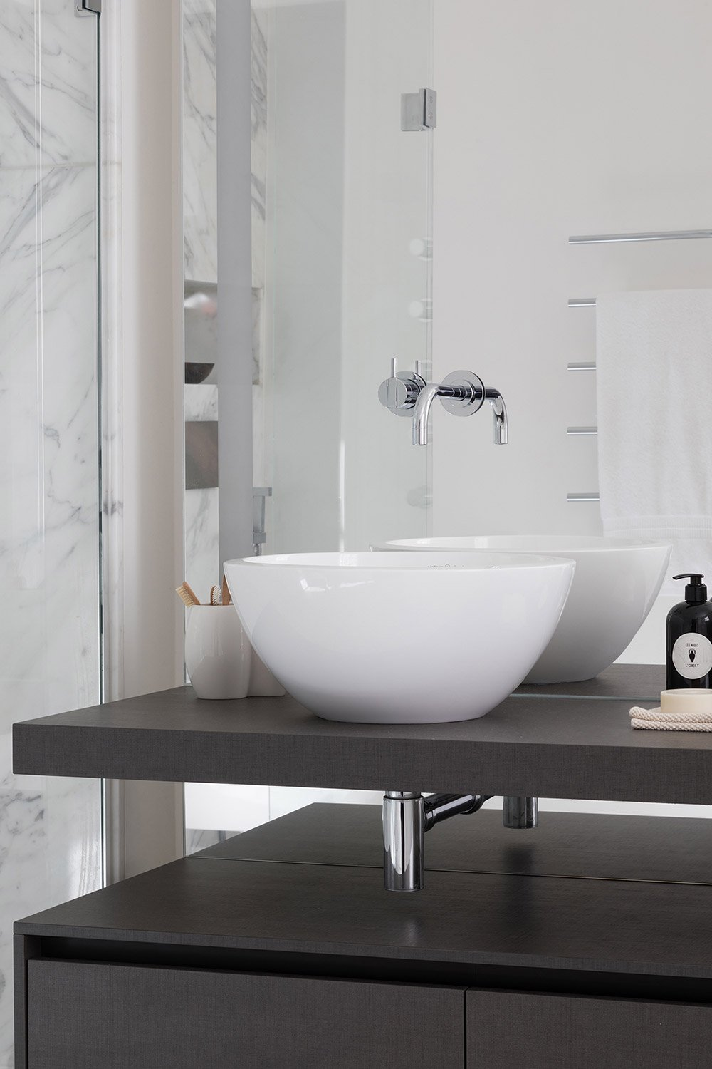 White bathroom with designer basin