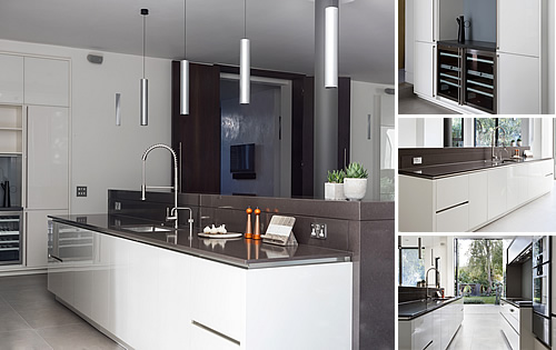 White Glass Kitchen - with silestone quartz worktops, built up breakfast bar, gaggenau appliances, warming drawers, wine coolers, Quooker hot tap and glass splash-backs
