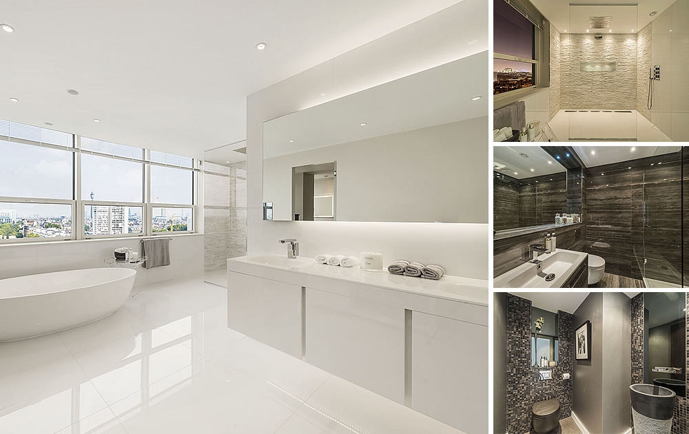 Iconic Penthouse Bathrooms - Iconic bathrooms, porcelain, glass and stone mosaic throughout a landmark building penthouse in Central London