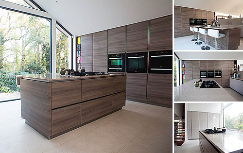 Grey Acacia Timber Kitchen - Contemporary Kitchen with cashmere glossy and grey acacia doors