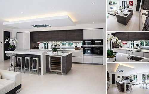 White Glossy Kitchen - Brilliant white glossy lacquer kitchen with dark pine timber accents including framing the tall units