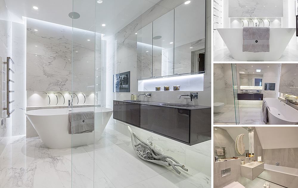 Luxury Bathrooms in Hadley Wood - 3 luxury en-suite bathrooms featuring walkin shower free standing bath, disigner vanity units, stone & porcelain tiles, plus